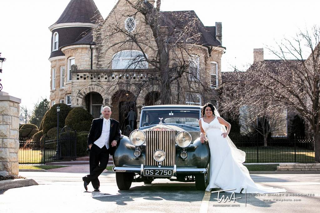 old car and castle at vintage wedding venue