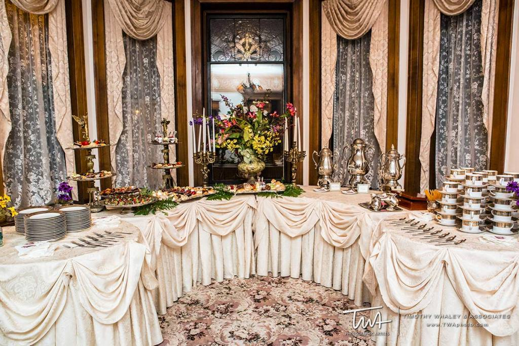 table with hors d'oeuvres at wedding reception