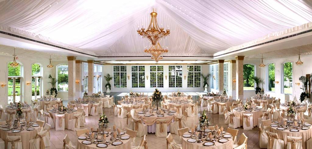 view overlooking large ballroom at Mansion wedding venue