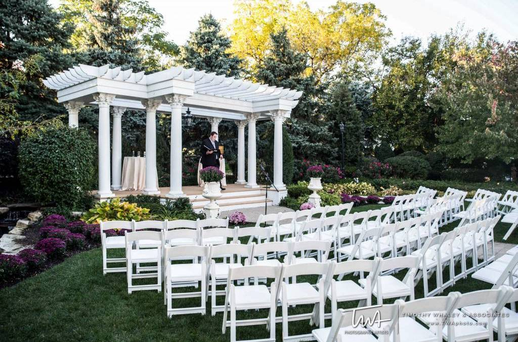 Wedding ceremony space with fall leaves