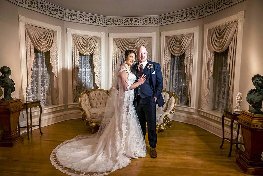 Bride and Groom in Historic Wedding Venue