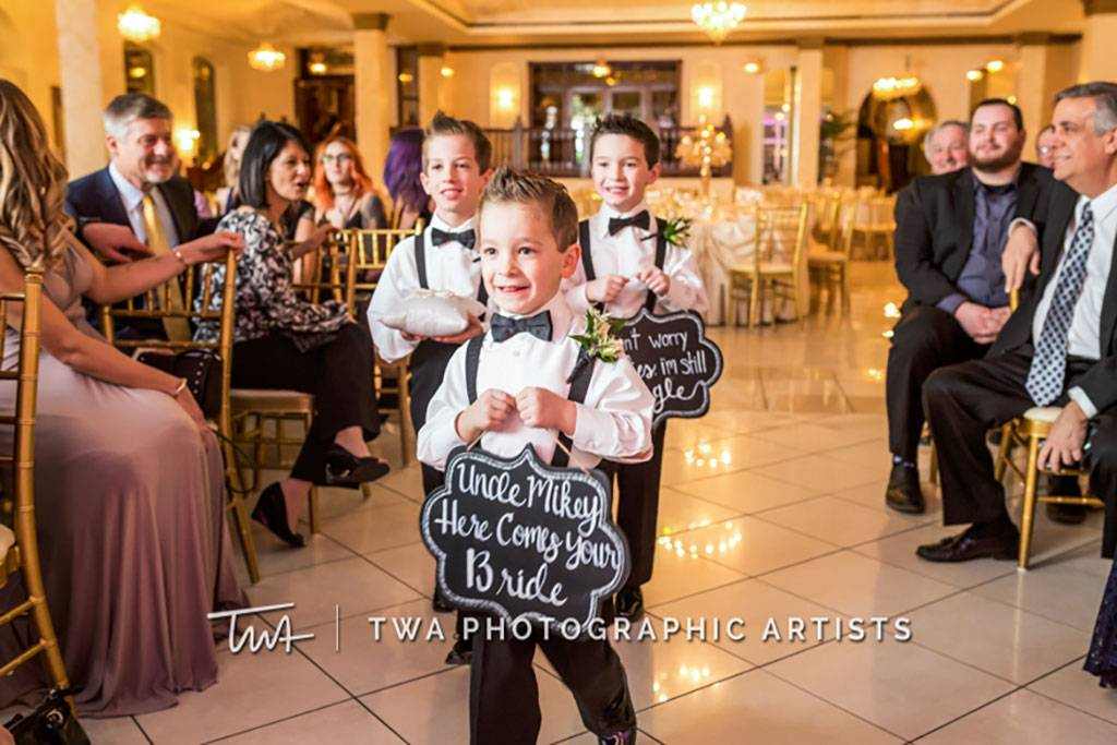 Ring Bearers at Indoor Wedding Ceremony Space