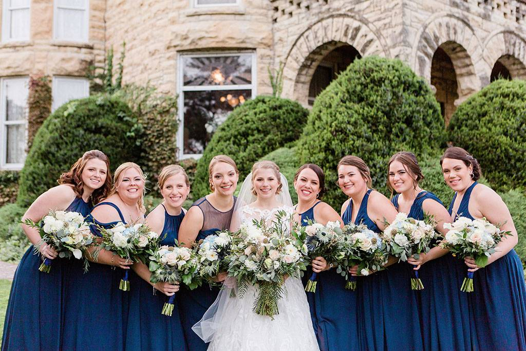 Bride and Bridesmaids at The Haley Mansion